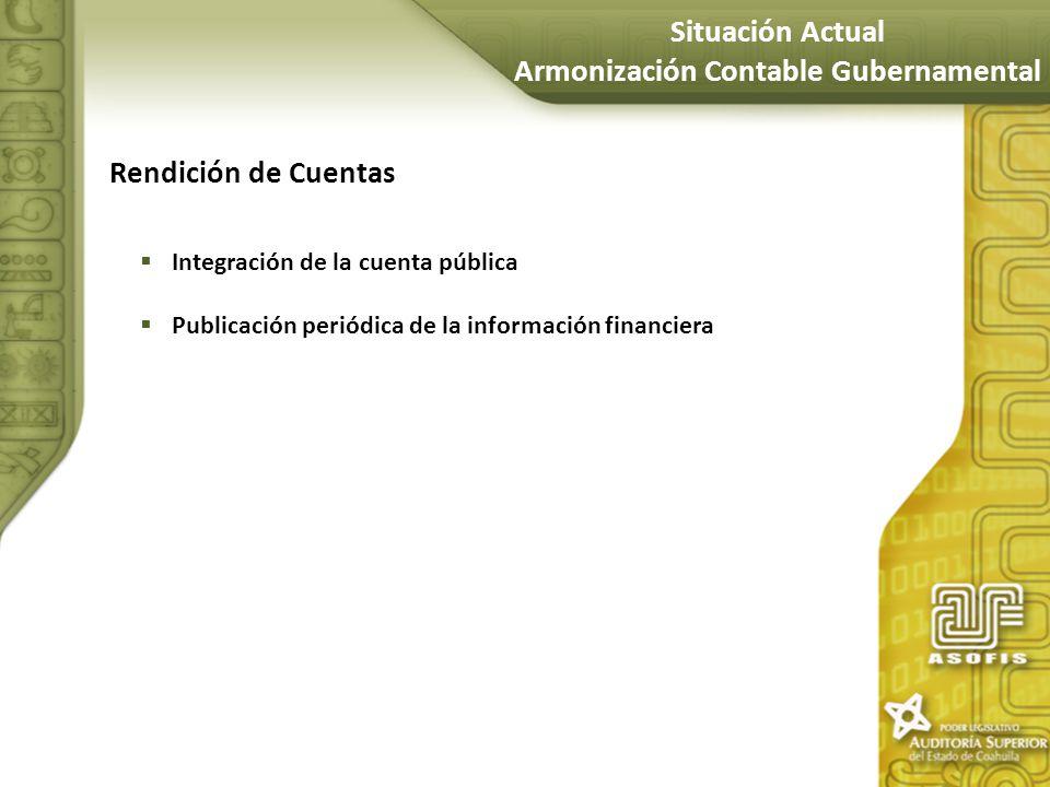 Rendición de Cuentas Integración de la cuenta pública Publicación periódica de la información financiera Situación Actual Armonización Contable Gubern