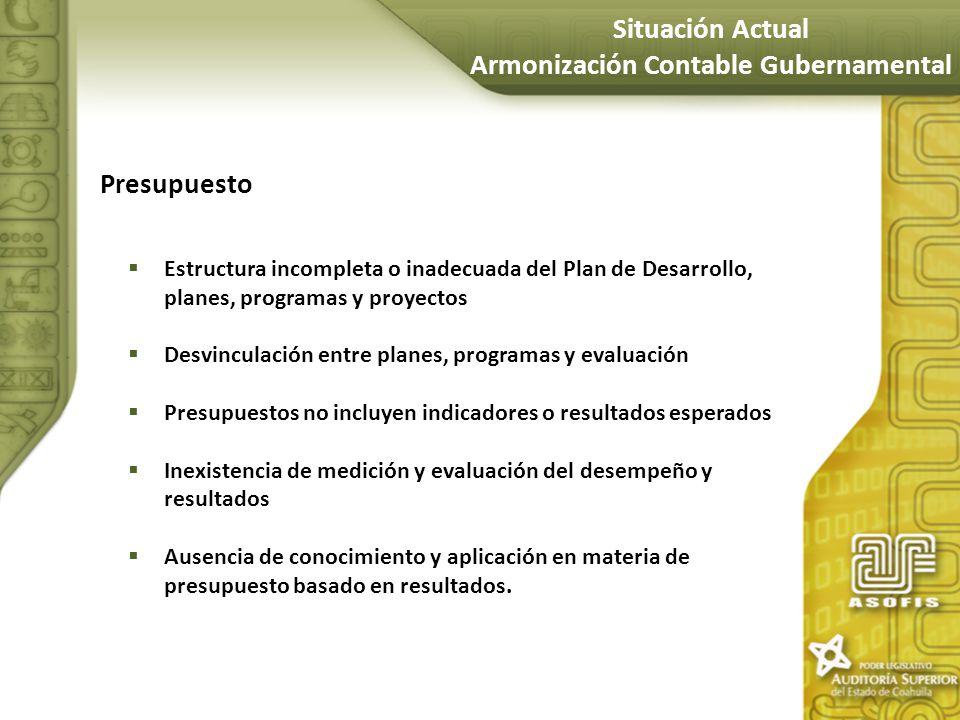 Presupuesto Estructura incompleta o inadecuada del Plan de Desarrollo, planes, programas y proyectos Desvinculación entre planes, programas y evaluaci