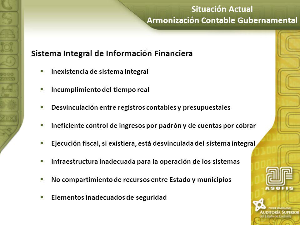 Sistema Integral de Información Financiera Inexistencia de sistema integral Incumplimiento del tiempo real Desvinculación entre registros contables y