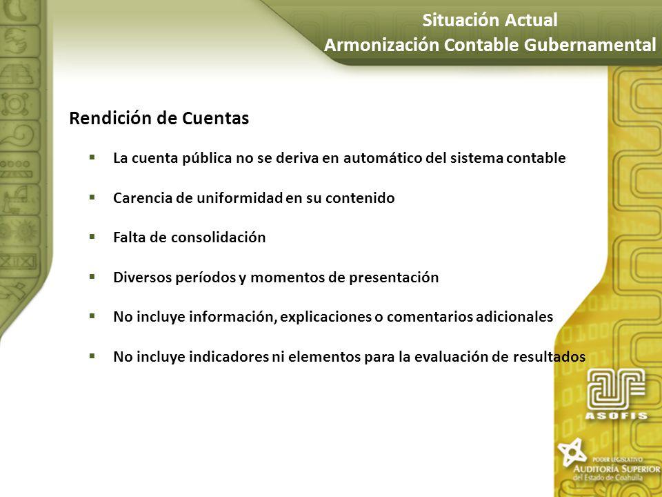 Rendición de Cuentas La cuenta pública no se deriva en automático del sistema contable Carencia de uniformidad en su contenido Falta de consolidación