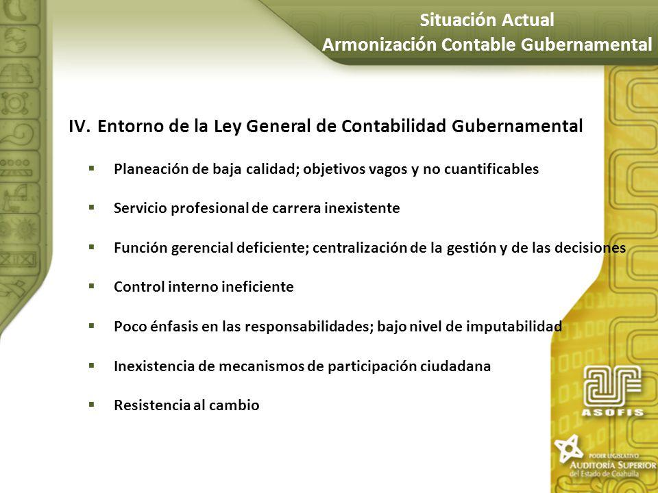IV.Entorno de la Ley General de Contabilidad Gubernamental Planeación de baja calidad; objetivos vagos y no cuantificables Servicio profesional de car
