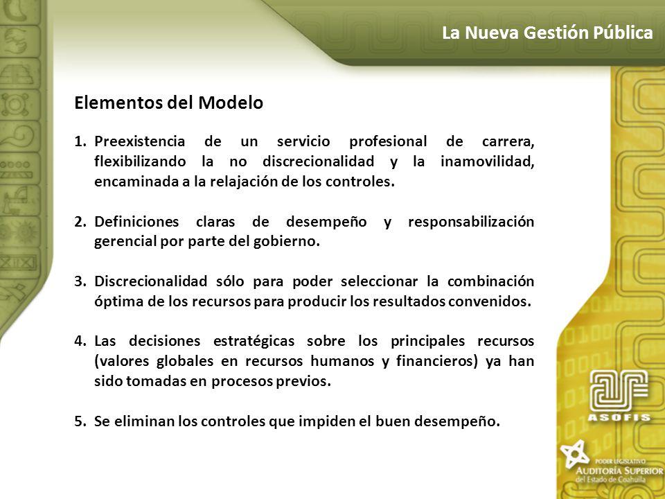 La Nueva Gestión Pública Elementos del Modelo 1.Preexistencia de un servicio profesional de carrera, flexibilizando la no discrecionalidad y la inamov