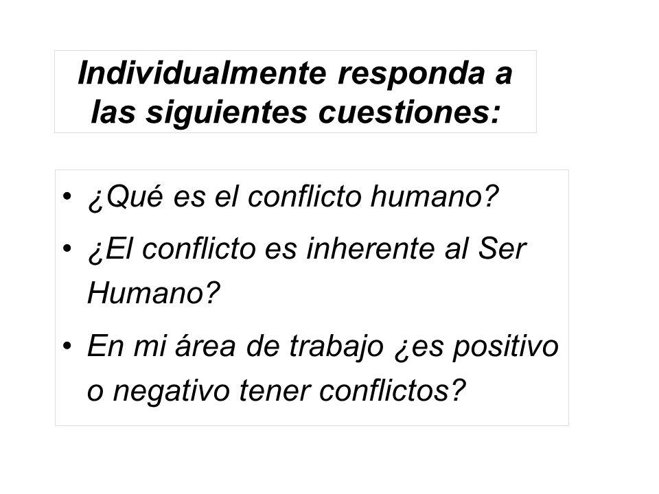 Individualmente responda a las siguientes cuestiones: ¿Qué es el conflicto humano? ¿El conflicto es inherente al Ser Humano? En mi área de trabajo ¿es
