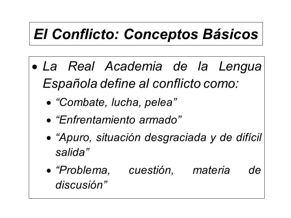 El Conflicto: Conceptos Básicos La Real Academia de la Lengua Española define al conflicto como: Combate, lucha, pelea Enfrentamiento armado Apuro, si