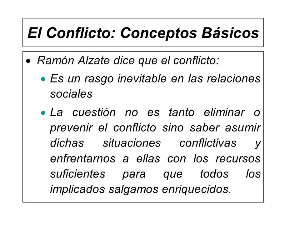 El Conflicto: Conceptos Básicos Ramón Alzate dice que el conflicto: Es un rasgo inevitable en las relaciones sociales La cuestión no es tanto eliminar