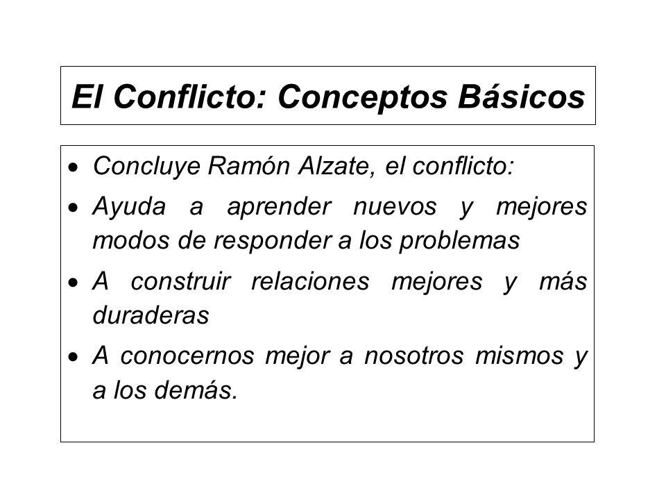 El Conflicto: Conceptos Básicos Concluye Ramón Alzate, el conflicto: Ayuda a aprender nuevos y mejores modos de responder a los problemas A construir