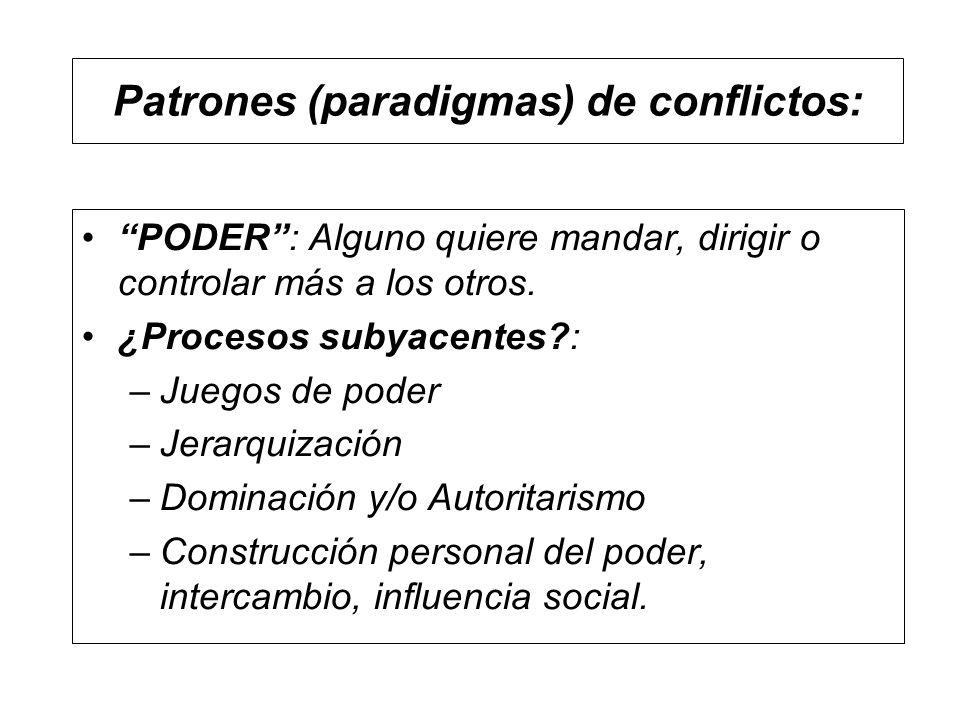 Patrones (paradigmas) de conflictos: PODER: Alguno quiere mandar, dirigir o controlar más a los otros. ¿Procesos subyacentes?: –Juegos de poder –Jerar