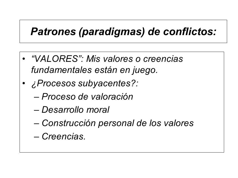 Patrones (paradigmas) de conflictos: VALORES: Mis valores o creencias fundamentales están en juego. ¿Procesos subyacentes?: –Proceso de valoración –De