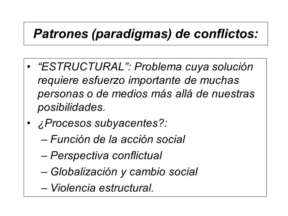 Patrones (paradigmas) de conflictos: ESTRUCTURAL: Problema cuya solución requiere esfuerzo importante de muchas personas o de medios más allá de nuest