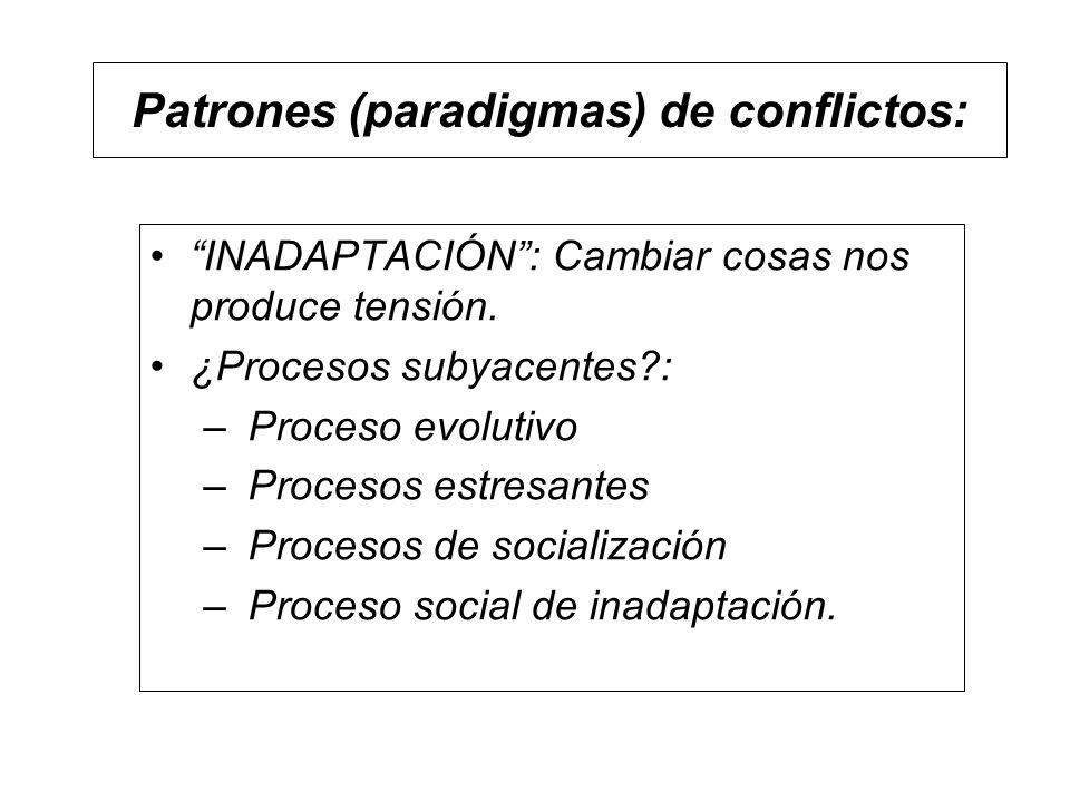 Patrones (paradigmas) de conflictos: INADAPTACIÓN: Cambiar cosas nos produce tensión. ¿Procesos subyacentes?: – Proceso evolutivo – Procesos estresant