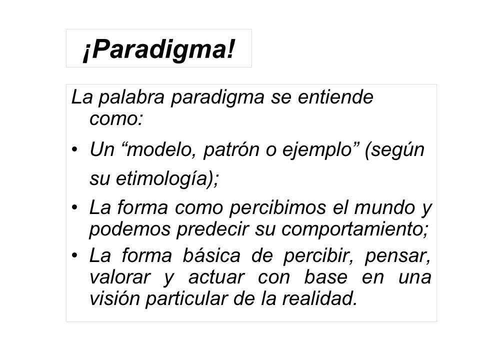 ¡Paradigma! La palabra paradigma se entiende como: Un modelo, patrón o ejemplo (según su etimología); La forma como percibimos el mundo y podemos pred