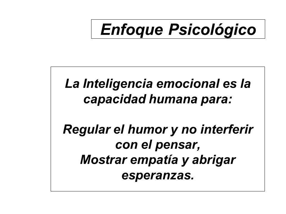 La Inteligencia emocional es la capacidad humana para: Regular el humor y no interferir con el pensar, Mostrar empatía y abrigar esperanzas. Enfoque P