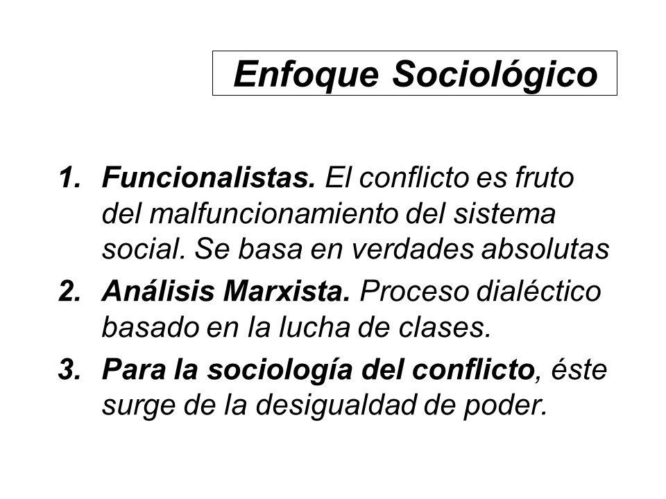 Enfoque Sociológico 1.Funcionalistas. El conflicto es fruto del malfuncionamiento del sistema social. Se basa en verdades absolutas 2.Análisis Marxist