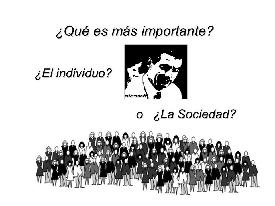 ¿Qué es más importante? ¿El individuo? o ¿La Sociedad?