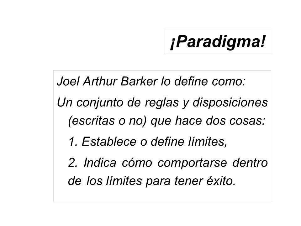¡Paradigma! Joel Arthur Barker lo define como: Un conjunto de reglas y disposiciones (escritas o no) que hace dos cosas: 1. Establece o define límites