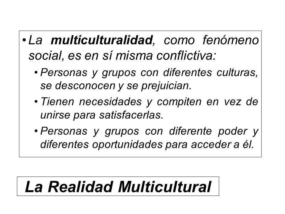 La Realidad Multicultural La multiculturalidad, como fenómeno social, es en sí misma conflictiva: Personas y grupos con diferentes culturas, se descon