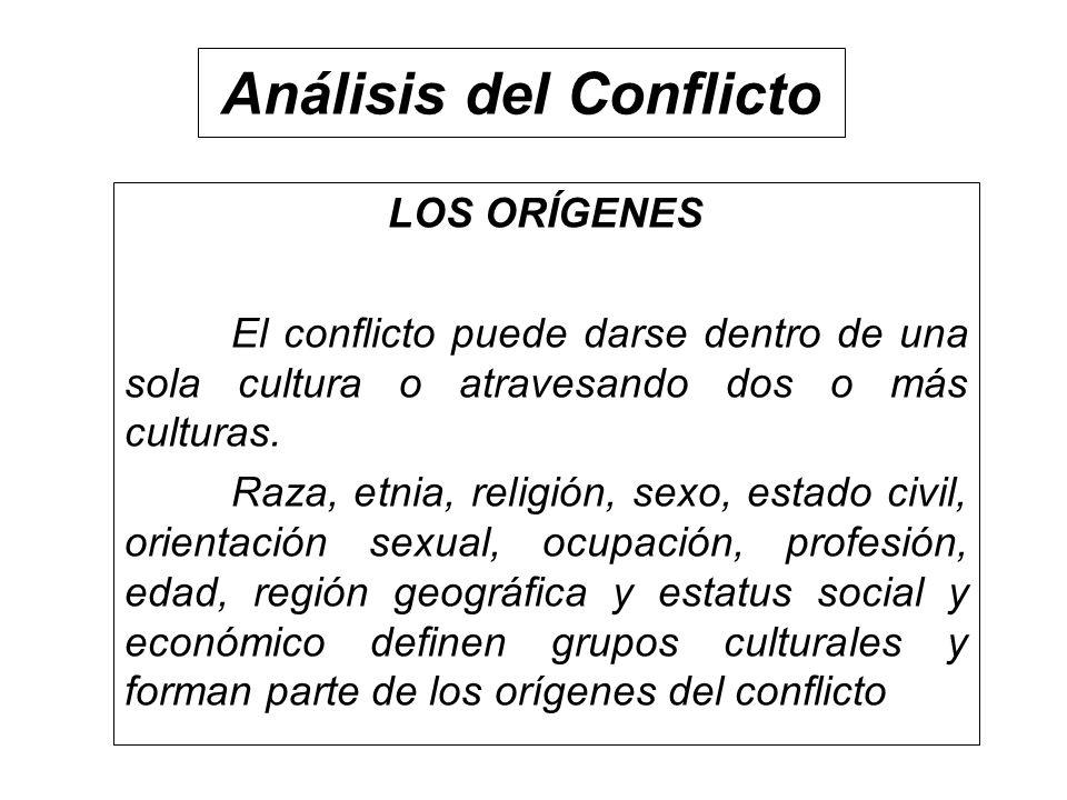 Análisis del Conflicto LOS ORÍGENES El conflicto puede darse dentro de una sola cultura o atravesando dos o más culturas. Raza, etnia, religión, sexo,