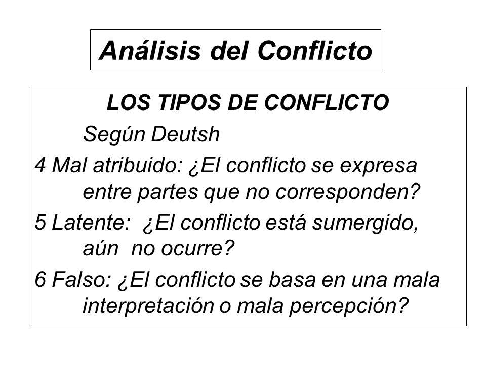 LOS TIPOS DE CONFLICTO Según Deutsh 4 Mal atribuido: ¿El conflicto se expresa entre partes que no corresponden? 5 Latente: ¿El conflicto está sumergid