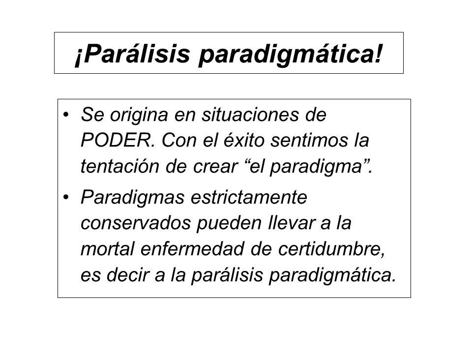 ¡Parálisis paradigmática! Se origina en situaciones de PODER. Con el éxito sentimos la tentación de crear el paradigma. Paradigmas estrictamente conse