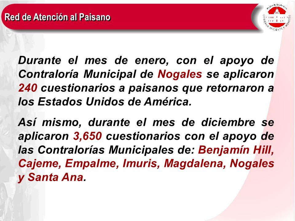 Durante el mes de enero, con el apoyo de Contraloría Municipal de Nogales se aplicaron 240 cuestionarios a paisanos que retornaron a los Estados Unidos de América.
