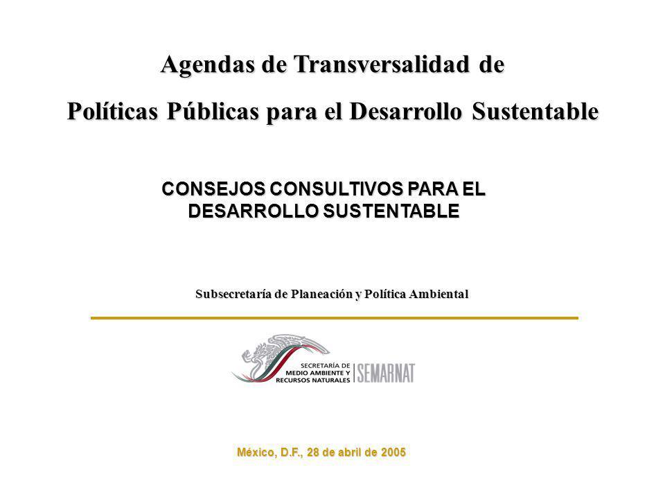 México, D.F., 28 de abril de 2005 Subsecretaría de Planeación y Política Ambiental Agendas de Transversalidad de Políticas Públicas para el Desarrollo