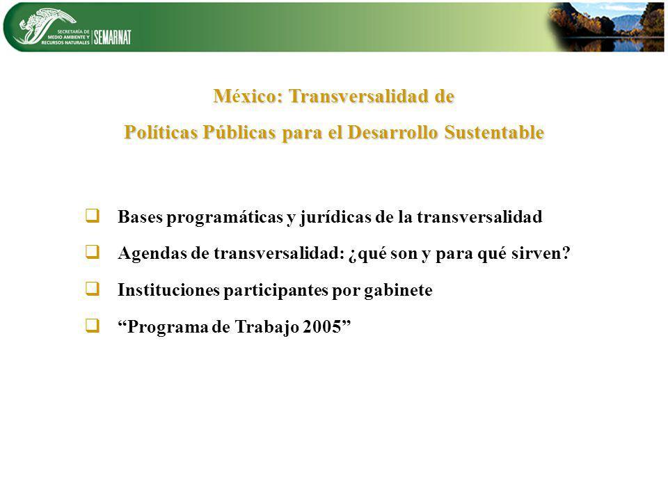Bases programáticas y jurídicas de la transversalidad Agendas de transversalidad: ¿qué son y para qué sirven? Instituciones participantes por gabinete