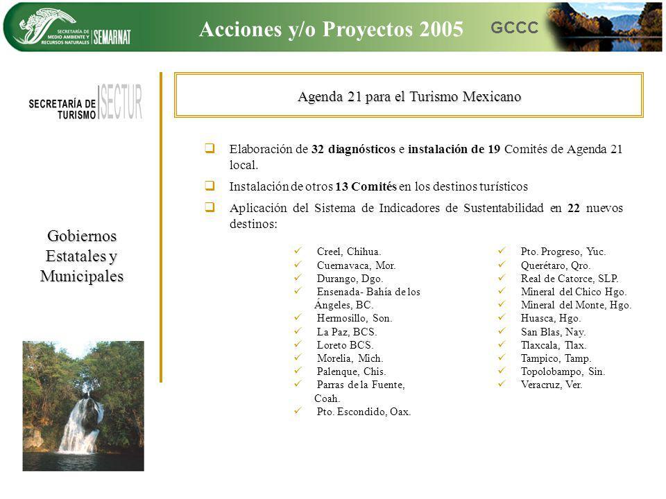 Agenda 21 para el Turismo Mexicano Elaboración de 32 diagnósticos e instalación de 19 Comités de Agenda 21 local. Instalación de otros 13 Comités en l