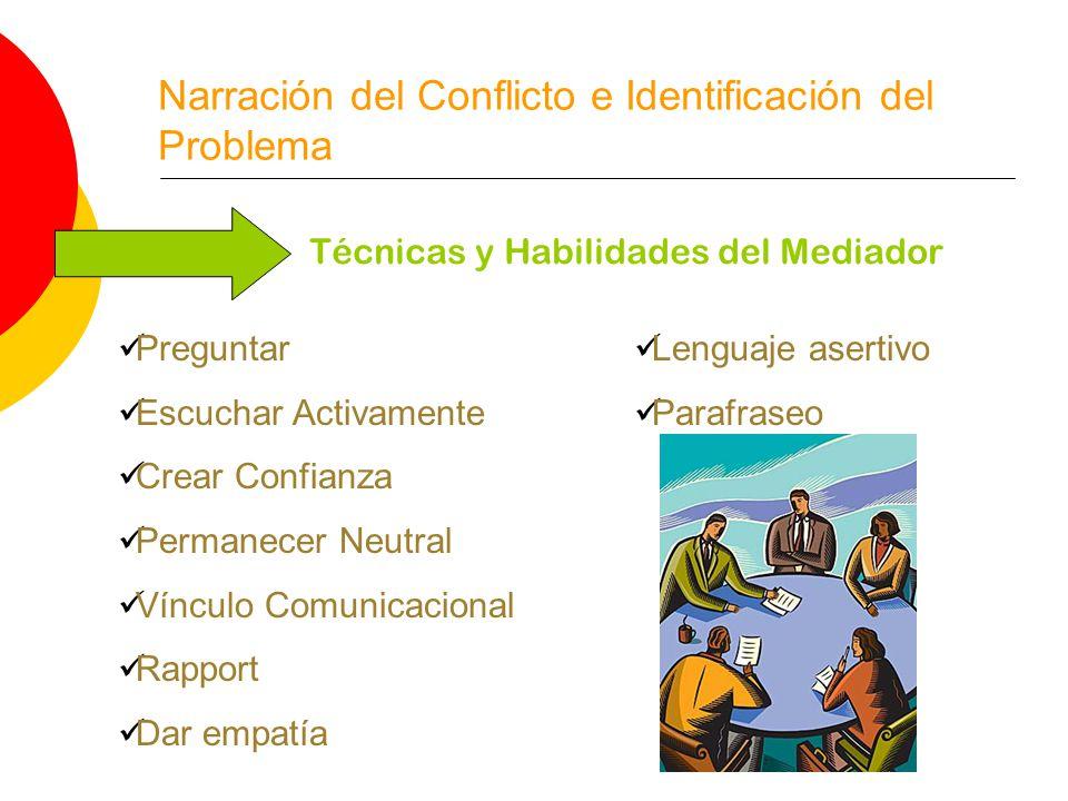 Narración del Conflicto e Identificación del Problema Técnicas y Habilidades del Mediador Preguntar Escuchar Activamente Crear Confianza Permanecer Neutral Vínculo Comunicacional Rapport Dar empatía Lenguaje asertivo Parafraseo
