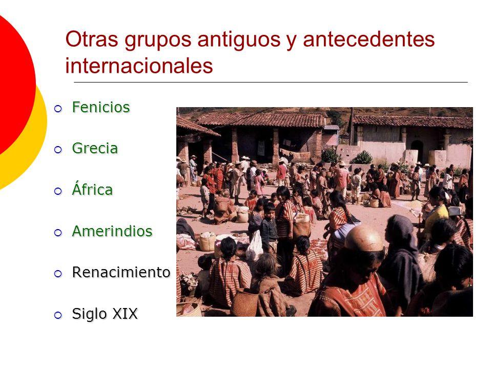 Fenicios Fenicios Grecia Grecia África África Amerindios Amerindios Renacimiento Renacimiento Siglo XIX Siglo XIX Otras grupos antiguos y antecedentes internacionales