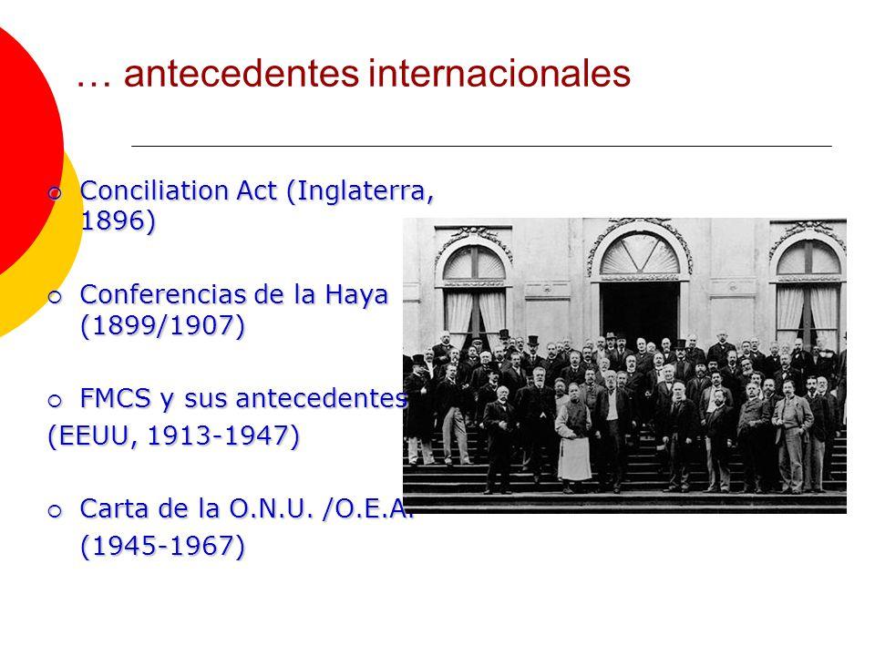 … antecedentes internacionales Conciliation Act (Inglaterra, 1896) Conciliation Act (Inglaterra, 1896) Conferencias de la Haya (1899/1907) Conferencias de la Haya (1899/1907) FMCS y sus antecedentes FMCS y sus antecedentes (EEUU, 1913-1947) Carta de la O.N.U.