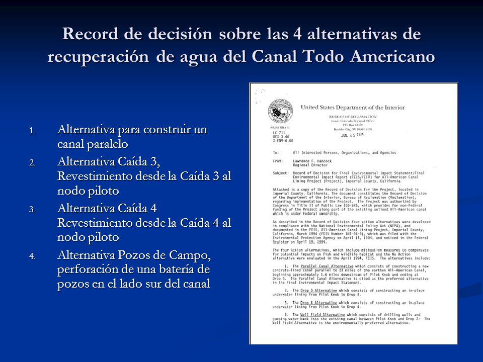 Record de decisión sobre las 4 alternativas de recuperación de agua del Canal Todo Americano 1. Alternativa para construir un canal paralelo 2. Altern