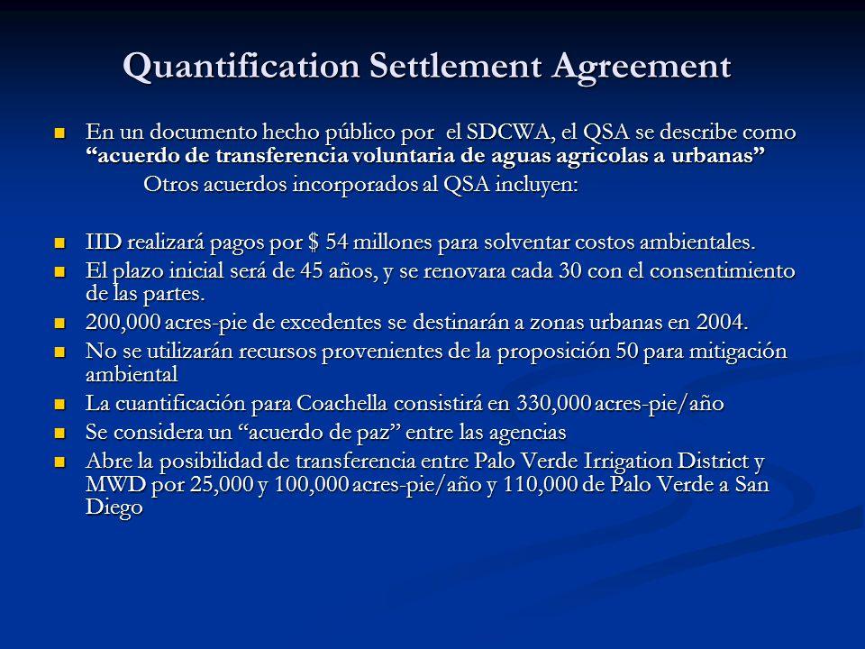 Quantification Settlement Agreement En un documento hecho público por el SDCWA, el QSA se describe como acuerdo de transferencia voluntaria de aguas a