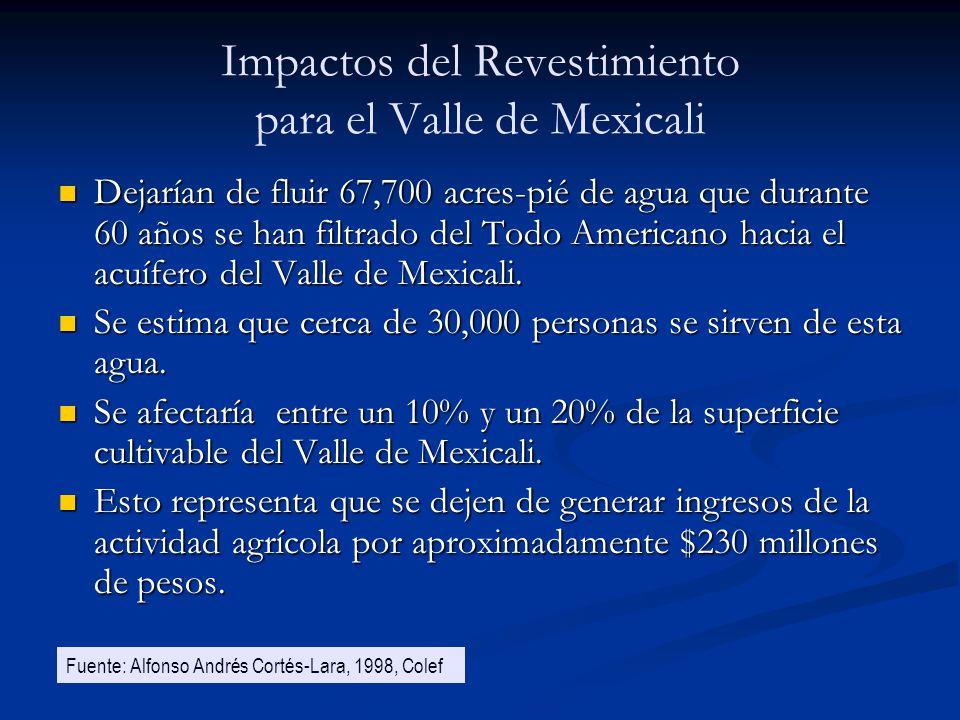 Impactos del Revestimiento para el Valle de Mexicali Dejarían de fluir 67,700 acres-pié de agua que durante 60 años se han filtrado del Todo Americano
