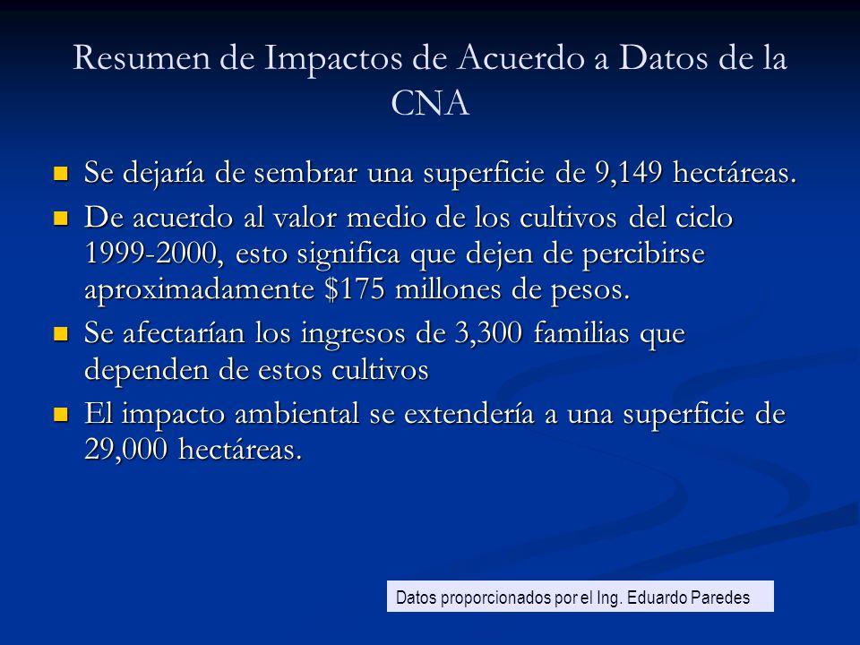 Resumen de Impactos de Acuerdo a Datos de la CNA Se dejaría de sembrar una superficie de 9,149 hectáreas. Se dejaría de sembrar una superficie de 9,14