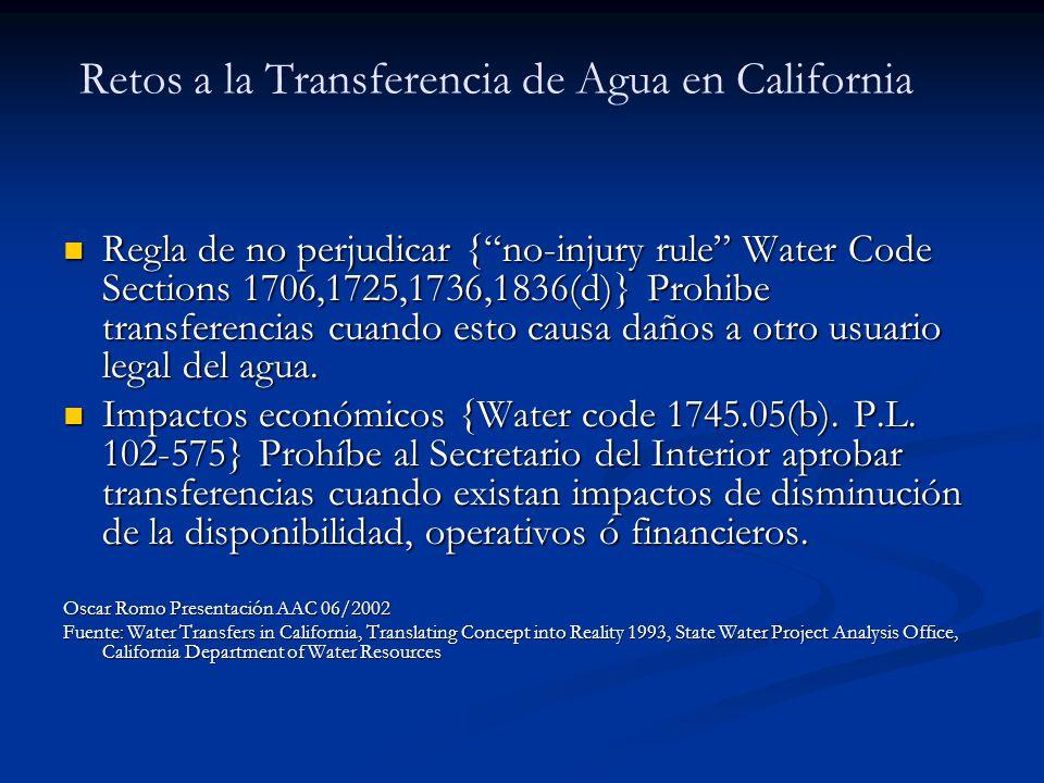 Retos a la Transferencia de Agua en California Regla de no perjudicar {no-injury rule Water Code Sections 1706,1725,1736,1836(d)} Prohibe transferenci