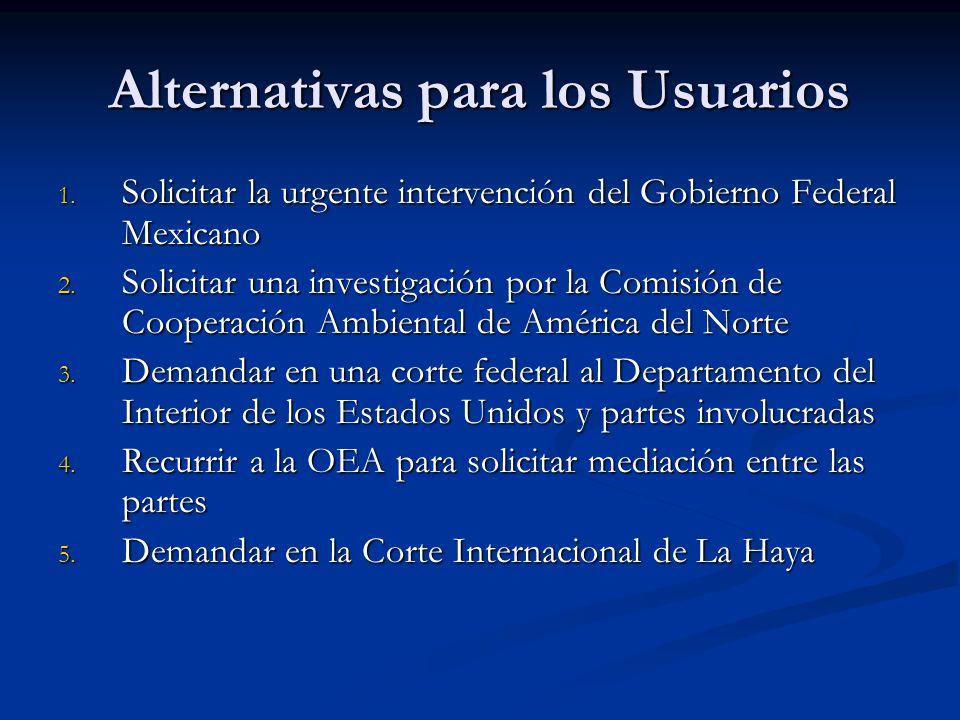 Alternativas para los Usuarios 1. Solicitar la urgente intervención del Gobierno Federal Mexicano 2. Solicitar una investigación por la Comisión de Co