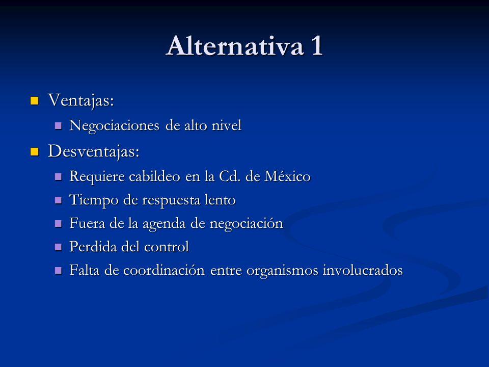Alternativa 1 Ventajas: Ventajas: Negociaciones de alto nivel Negociaciones de alto nivel Desventajas: Desventajas: Requiere cabildeo en la Cd. de Méx