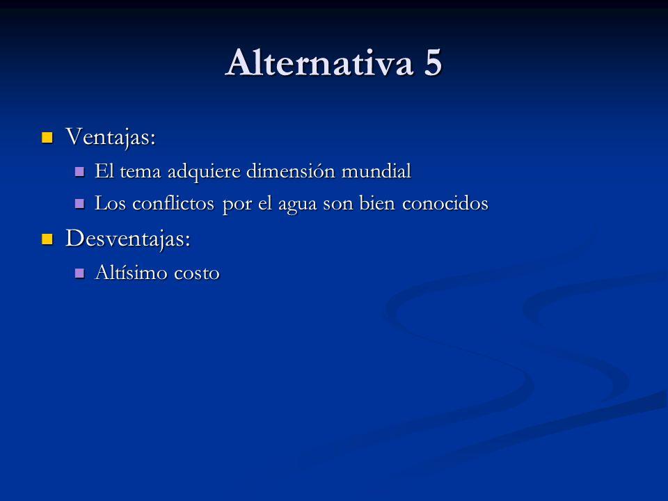 Alternativa 5 Ventajas: Ventajas: El tema adquiere dimensión mundial El tema adquiere dimensión mundial Los conflictos por el agua son bien conocidos
