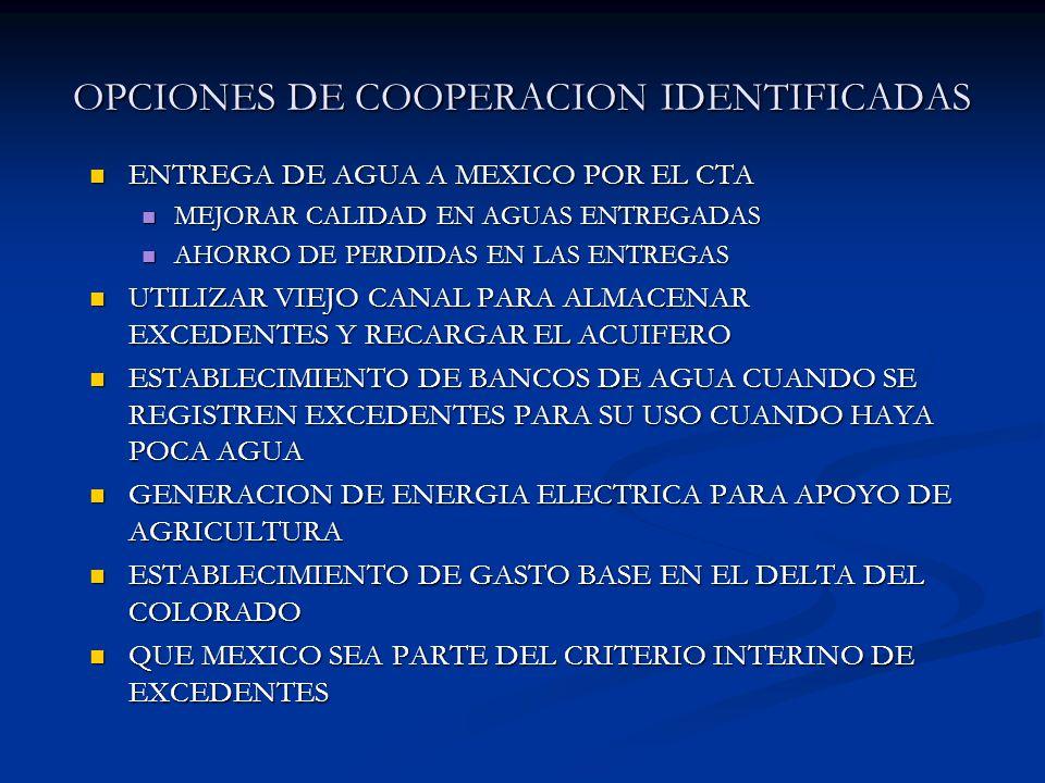 OPCIONES DE COOPERACION IDENTIFICADAS ENTREGA DE AGUA A MEXICO POR EL CTA ENTREGA DE AGUA A MEXICO POR EL CTA MEJORAR CALIDAD EN AGUAS ENTREGADAS MEJO