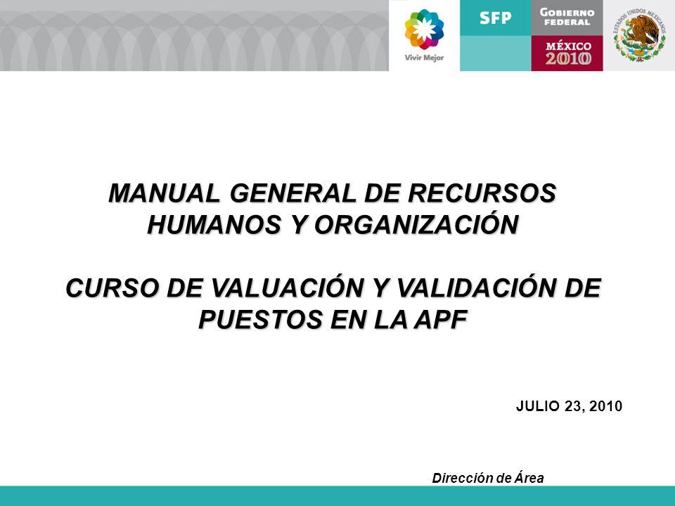 Dirección de Área MANUAL GENERAL DE RECURSOS HUMANOS Y ORGANIZACIÓN CURSO DE VALUACIÓN Y VALIDACIÓN DE PUESTOS EN LA APF JULIO 23, 2010