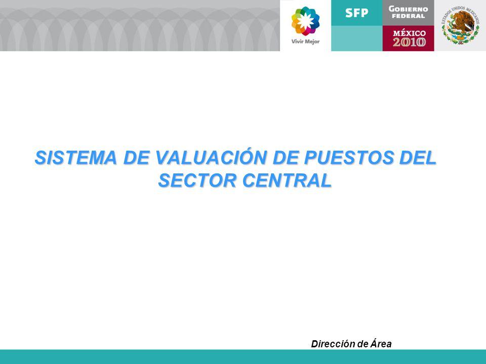 Dirección de Área SISTEMA DE VALUACIÓN DE PUESTOS DEL SECTOR CENTRAL