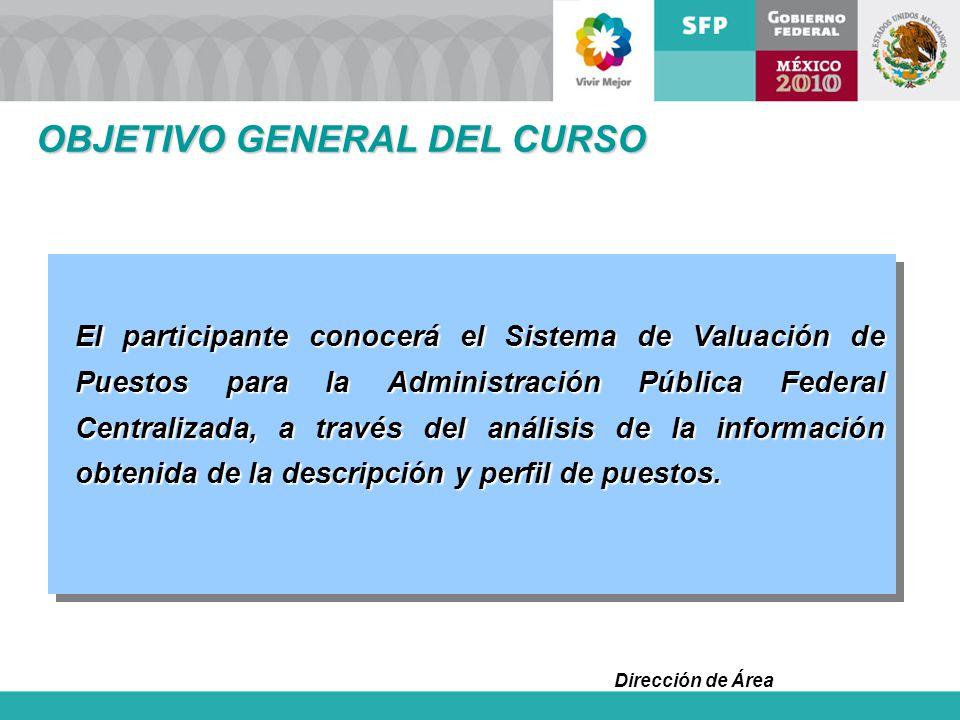 Dirección de Área OBJETIVO GENERAL DEL CURSO El participante conocerá el Sistema de Valuación de Puestos para la Administración Pública Federal Centra