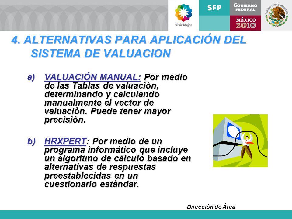 Dirección de Área 4. ALTERNATIVAS PARA APLICACIÓN DEL SISTEMA DE VALUACION a)VALUACIÓN MANUAL: Por medio de las Tablas de valuaciòn, determinando y ca