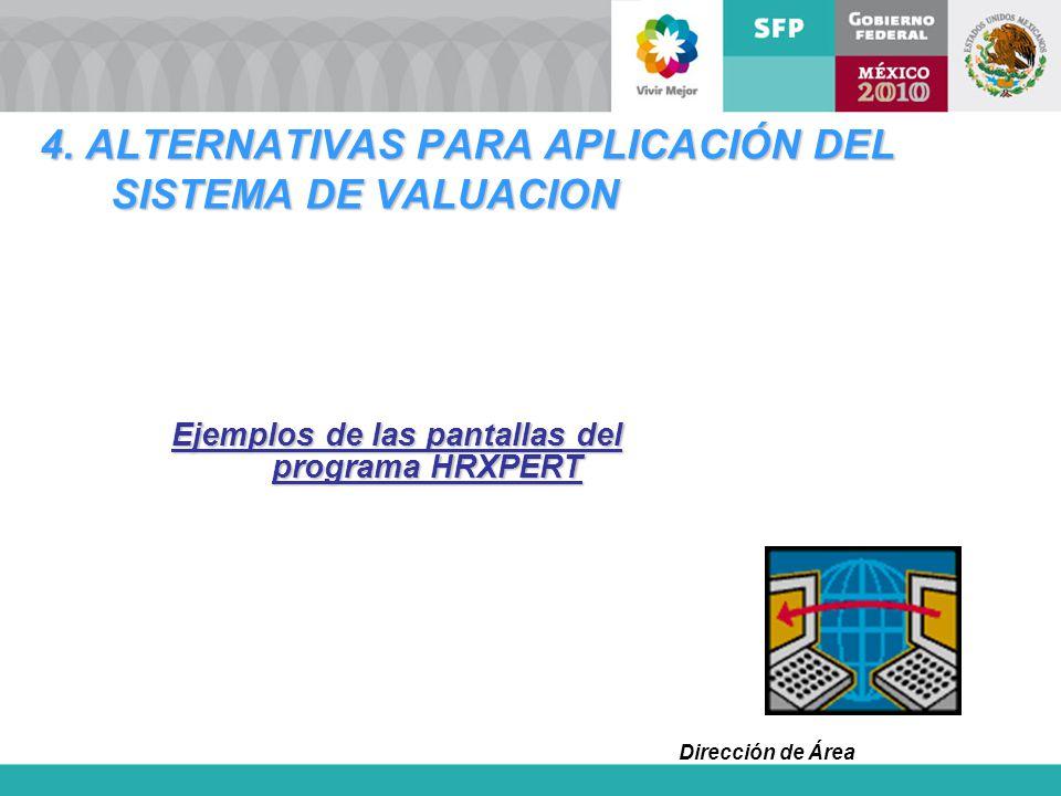 Dirección de Área 4. ALTERNATIVAS PARA APLICACIÓN DEL SISTEMA DE VALUACION Ejemplos de las pantallas del programa HRXPERT