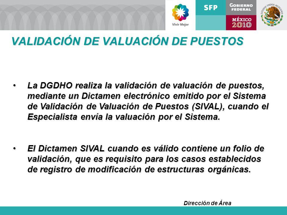 Dirección de Área La DGDHO realiza la validación de valuación de puestos, mediante un Dictamen electrónico emitido por el Sistema de Validación de Val