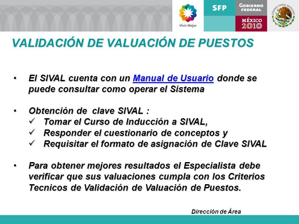 Dirección de Área El SIVAL cuenta con un Manual de Usuario donde se puede consultar como operar el SistemaEl SIVAL cuenta con un Manual de Usuario don