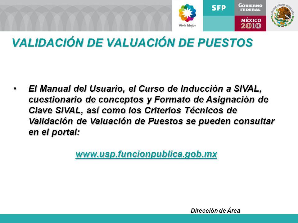 Dirección de Área El Manual del Usuario, el Curso de Inducción a SIVAL, cuestionario de conceptos y Formato de Asignación de Clave SIVAL, así como los