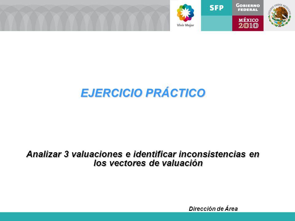 Dirección de Área EJERCICIO PRÁCTICO Analizar 3 valuaciones e identificar inconsistencias en los vectores de valuación