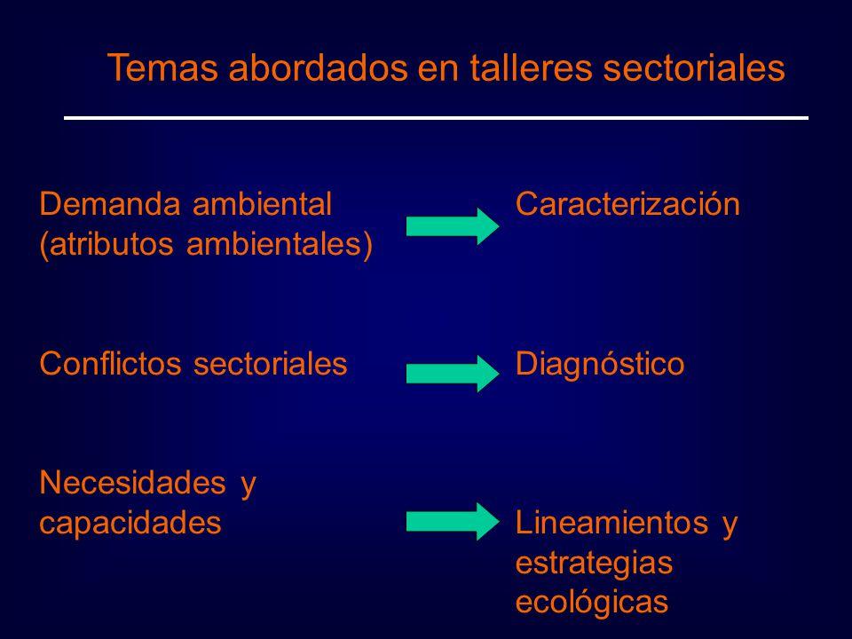 Temas abordados en talleres sectoriales Demanda ambiental (atributos ambientales) Conflictos sectoriales Necesidades y capacidades Caracterización Diagnóstico Lineamientos y estrategias ecológicas