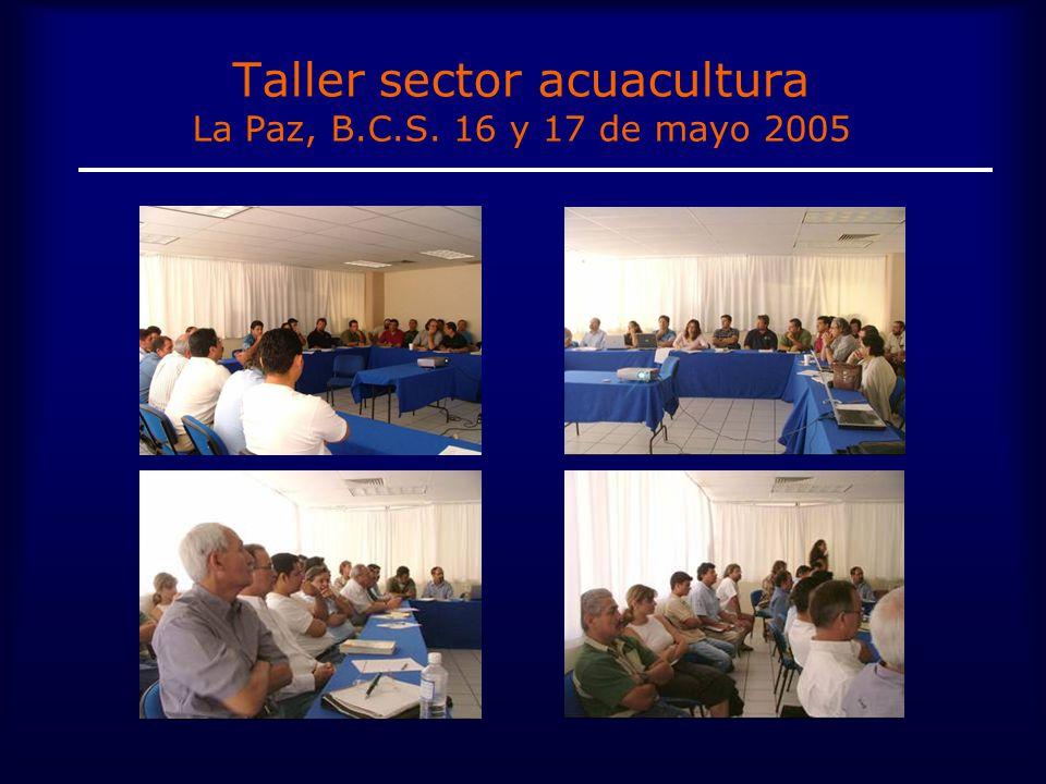Taller sector acuacultura La Paz, B.C.S. 16 y 17 de mayo 2005